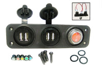 6.2A Dual USB Chargers + LED Switch - Wires Panel Mount Marine 12V Power Outlet