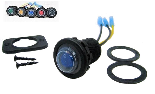 Double Seal Blue LED Waterproof Rocker 12 Volt Toggle Switch SPST Marine Round IP66 #SWB1B