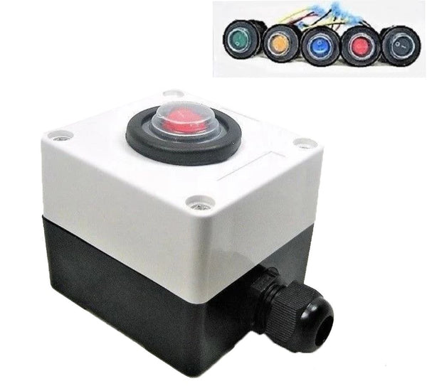 Double Sealed Waterproof Rocker Toggle SPST LED Switch & Utility Box 12 Volt IP66 SWR1B/encl