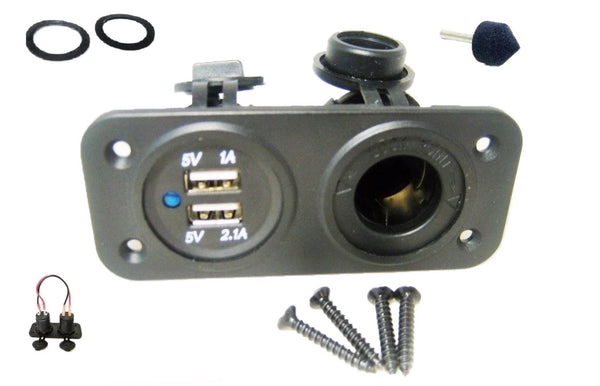 Dual 3.1A USB Charger and Socket Panel Mount Marine 12 Volt Jack Power Outlet