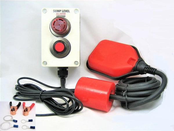 Indoor Outdoor SUMP PUMP ALARM Mute Button 12 Volt Battery Septic, Sewage, Well # SMPB2-12