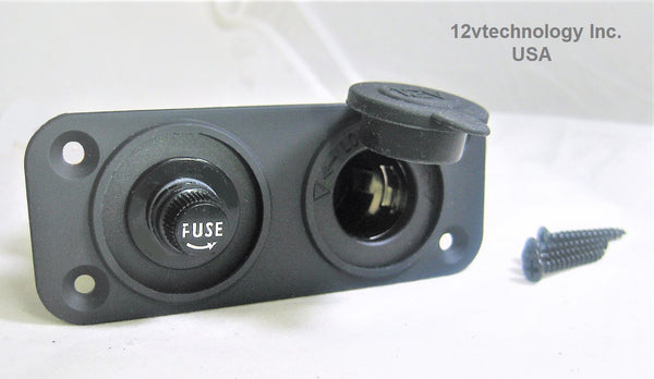Waterproof Surface Mount Plug socket & Fuse Holder w/Fuse Plug Socket 15A at 12V  #csr/fss15/T/4