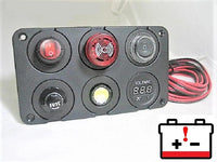 Pre Wired Tonal 12V Battery Bank Low Voltage Discharge Alarm w/ Strobe Monitor Panel  #BTM14