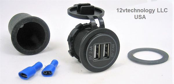 Waterproof USB Charger 4.8A Waterproof Sealing Cap Dual Plug Socket Boat Wires #cpa+sw