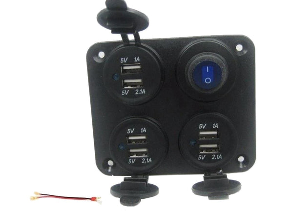 High Power USB Panel 9.2 Amp Charger Socket, Comes w/ Power Switch LED Wired 12v