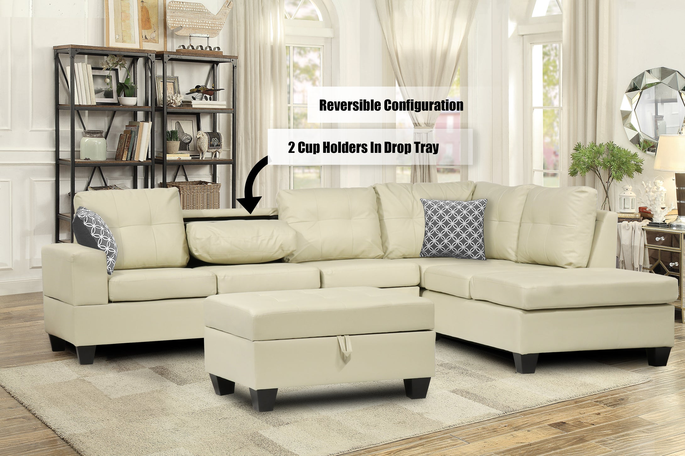 107 Reversible Sectional Beige