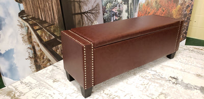 Burgundy Storage Ottoman with nail heads - Infiniteimports