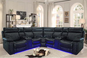 Harper Black Recliner Sectional With LED + USB + STORAGE