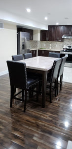 Real Marble with Solid Wood Dining Table + 6 Full Size Chairs - Infiniteimports