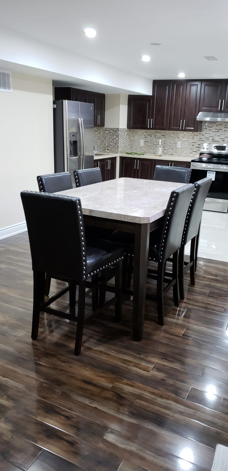 Real Marble with Solid Wood Pub Table + 6 Full Size Chairs - Infiniteimports