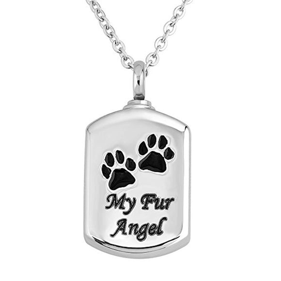 My Fur Angel Pet Paw Prints Urn Necklace Pendant Memorial Ashes Keepsake Cremation (Silver), Pet Memorial Necklace - Pet Remembrance Gifts