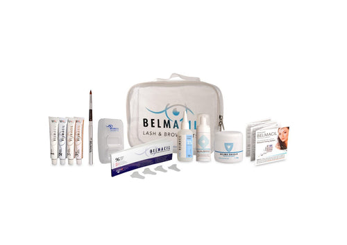 Belmacil Mini Tint Kit gives you a bag with four tubes of Swiss-Made tint that can be used for lash tinting or brow tinting, Belmacil creme oxydant to mix the tint, paper shields to prevent skin staining that can be used with Belma Shield the natural barrier balm for the skin, an application brush, a tint mixing dish and Belma remove to remove makeup or tint skin staining residue.