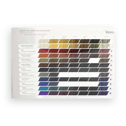 Belmacil lash and brow tint color chart to guide you through the Swiss made colors for tinting. Estheticians, Cosmetologist and Beauty Professionals can feel more comfortable with this guide.