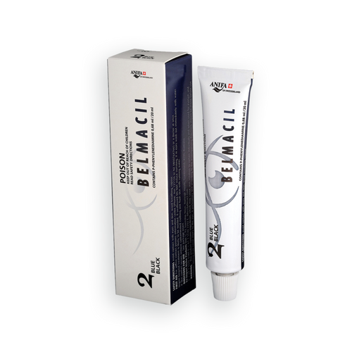 Belmacil Swiss Made Blue Black tint for tinting lashes or brows. It is bolder than black and does not look blue. To be used by beauty professionals, estheticians, aestheticians, cosmetologists, lash artists, or brow artists only.