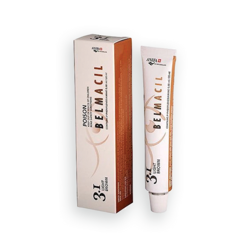 Belmacil Swiss Made Light Brown tint for tinting lashes or brows. To be used by beauty professionals, estheticians, aestheticians, cosmetologists, lash artists, or brow artists only.