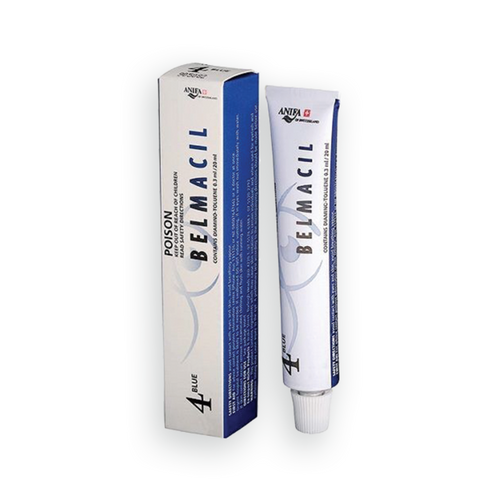 Belmacil Swiss Made Blue tint for mixing other tints for tinting lashes or brows. To be used by beauty professionals, estheticians, aestheticians, cosmetologists, lash artists, or brow artists only.