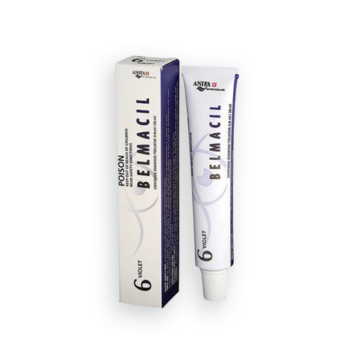 Belmacil Swiss Made Violet tint mixing for blondes, light brunettes,  and darker hair shades for tinting lashes or brows. To be used by beauty professionals, estheticians, aestheticians, cosmetologists, lash artists, or brow artists only.