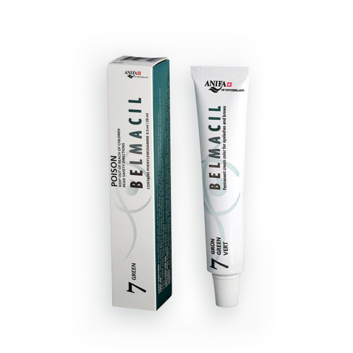 Belmacil Swiss Made Green tint for mixing colors for light colored hair, blue, green or brown eyes -tinting lashes or brows. To be used by beauty professionals, estheticians, aestheticians, cosmetologists, lash artists, or brow artists only.