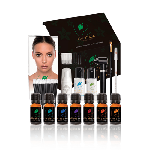 Elleebana Brow Henna full henna kit, all the henna colors, mixer, elleebana aqua, Belma remove, application brush, Elleebana Shampoo, Brow mapping pencil, Doe Foot/ Angled brush applicators