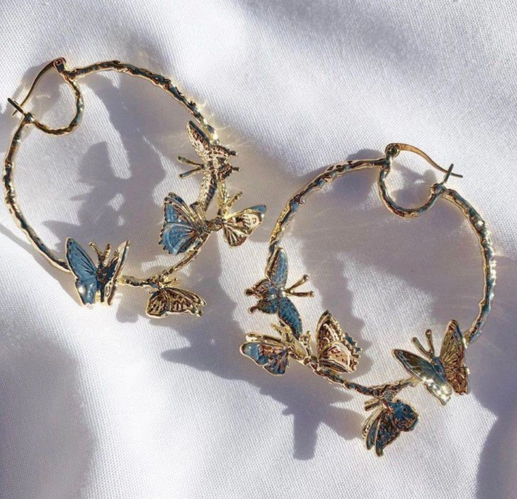 golden large butterfly hoops