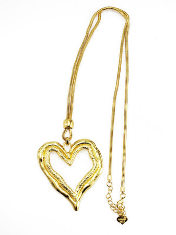 LAGENLOOK Hearts Pendant Long Necklace in Gold