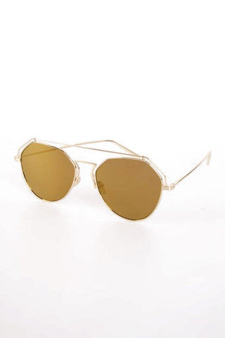 Metal Frame Hexagon Tinted Lens Sunglasses