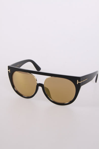 Chunky Visor Sunglasses with Gold Trim in Black