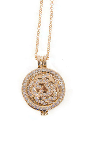 Diamante Flower Charm Pendant Long Necklace in gold