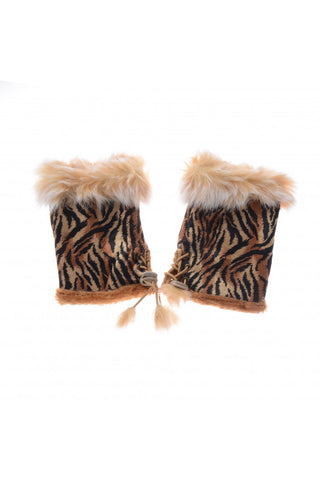 Rabbit Fur Tiger Print Fingerless Mitten