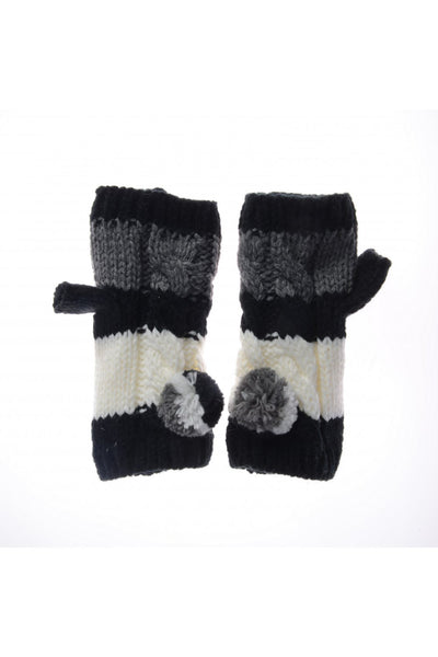 Tricolour Knitted Fingerless Mitten