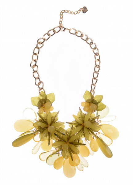 Yellow Beads Statement Necklace