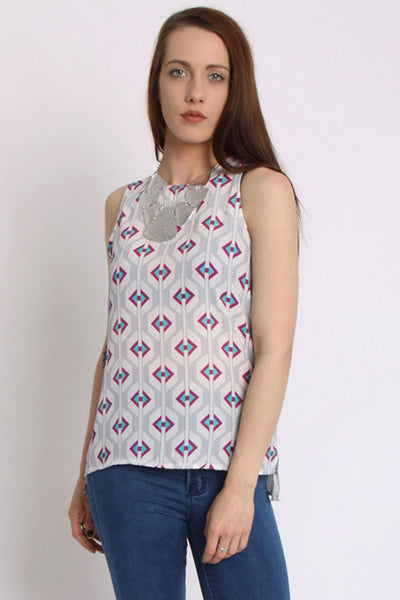 Sleeveless Top With Geometric Print And Side Split