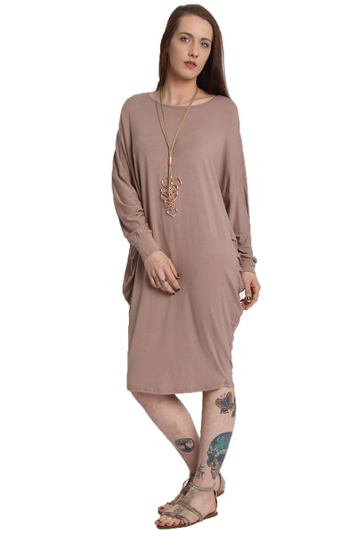 Long Sleeve Batwing Slouch Dress Top
