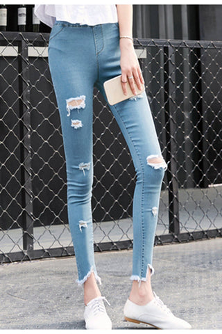 High Waisted Super Rip Skinny Jeggings