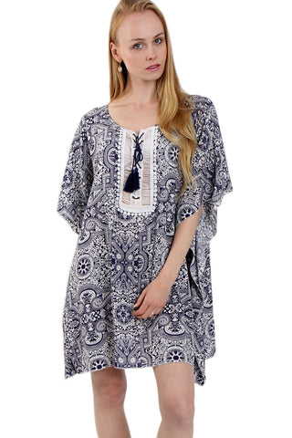 Tie Front Kaftan Dress Top In Vintage Bandana Print