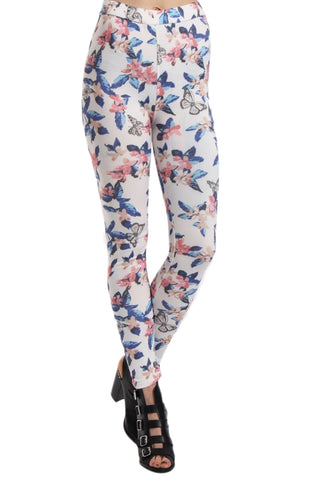 Butterfly & Floral Print High Waisted Leggings With Pockets