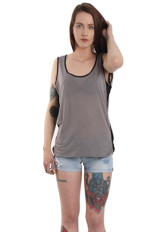 Contrast Trim Tank Top With Mesh Side Panel