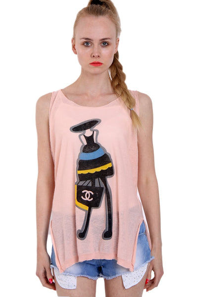 Fashion Illustration Print Sleeveless Knitted Top With Side Split in Pink
