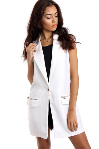 White Longline Sleeveless Jacket Waistcoat with Zip Pocket