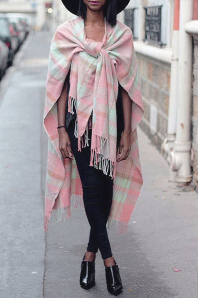 a3f882ca3bb Pale Pink and Mint Green Tartan Check Blanket Cape with Tassels ...