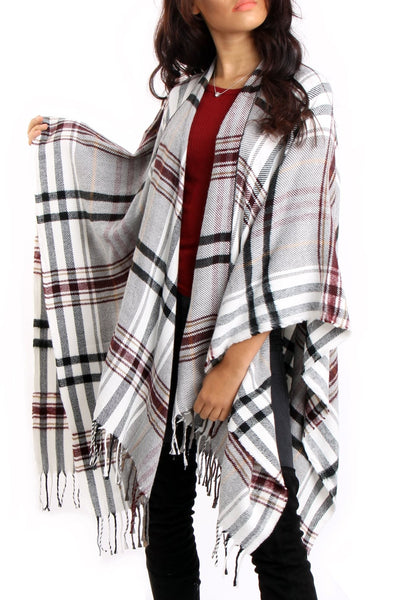 White & Burgundy Tartan Check Blanket Cape with Tassels