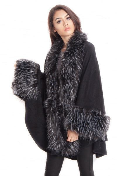 Knitted Faux Fur trim sleeve Poncho Cape