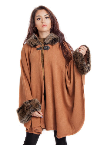 Knitted Faux Fur Trim Hooded Swing Poncho Cape
