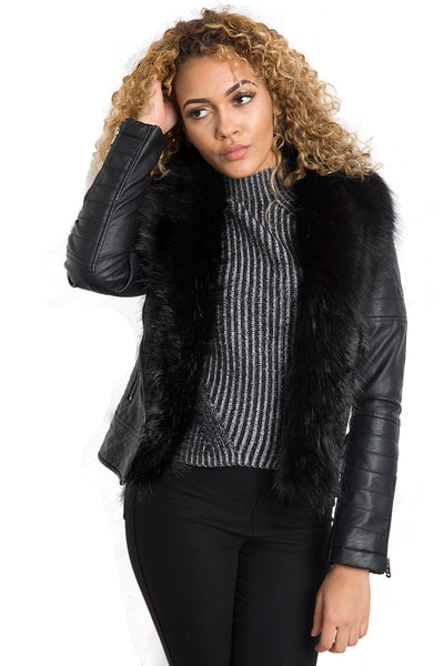 Leather Look Biker Jacket with Thick Faux Fur Trim Lining