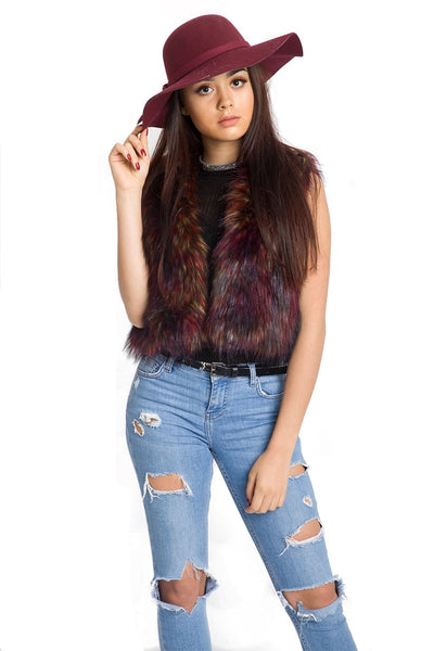 Burgundy Cropped Multi Colour Faux Fur Gilet