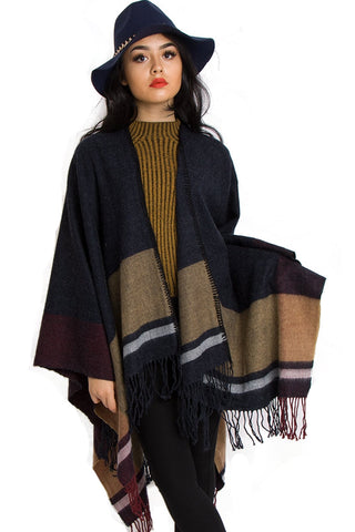 Navy and Mustard Stripe Blanket Cape With Fringe