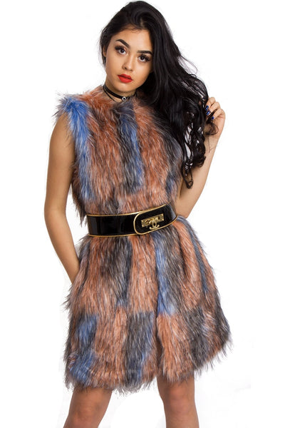 Longline Multi Colour Peach/Baby Blue Patchwork Faux Fur Gilet Waistcoat Jacket