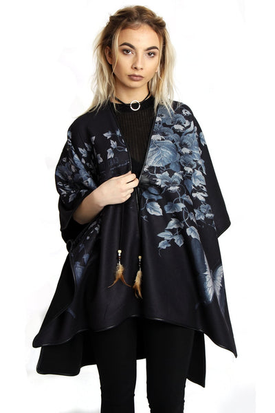 Butterfly Flower Print Feather Tassel Poncho