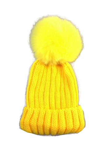 Kid Detachable Faux Fur  Pom Pom Beanie Hat