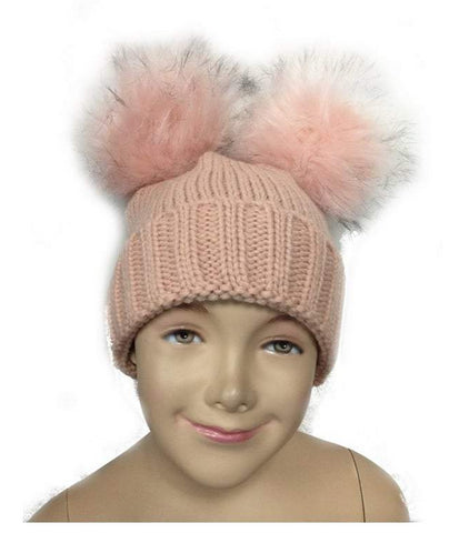 Blush Pink Kid Detachable Double FauxFur Pom Pom Beanie Hat